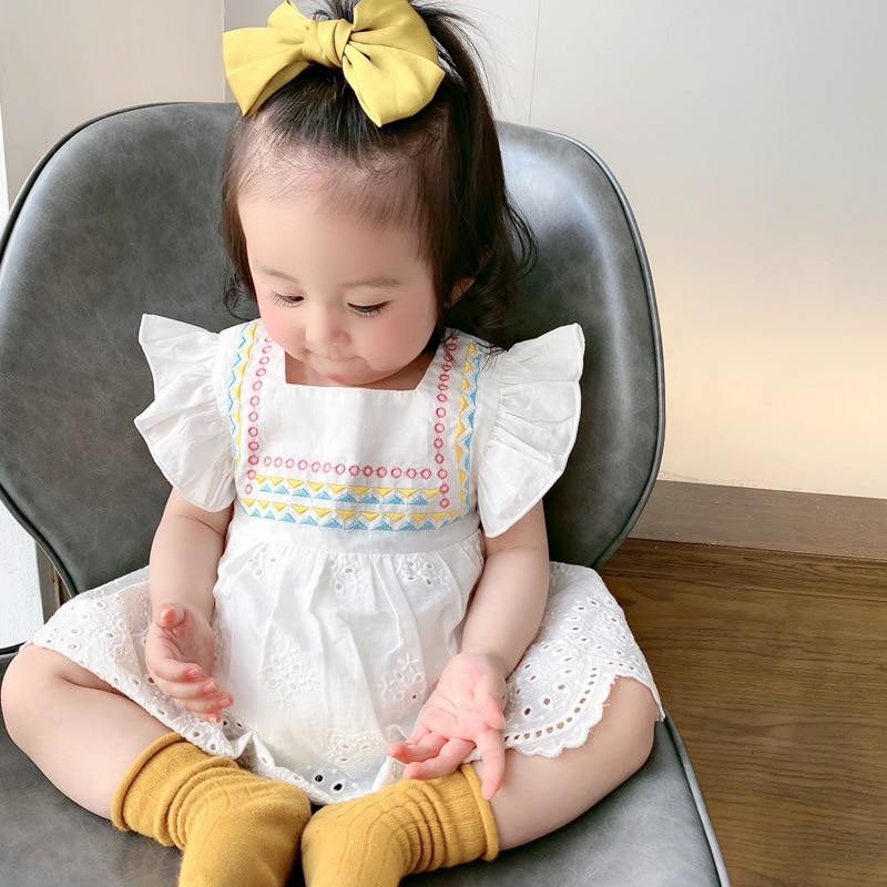 Yg brand children's clothing 2021 summer new square collar one-piece clothes baby 100 day skirt baby sleeveless creeping suit