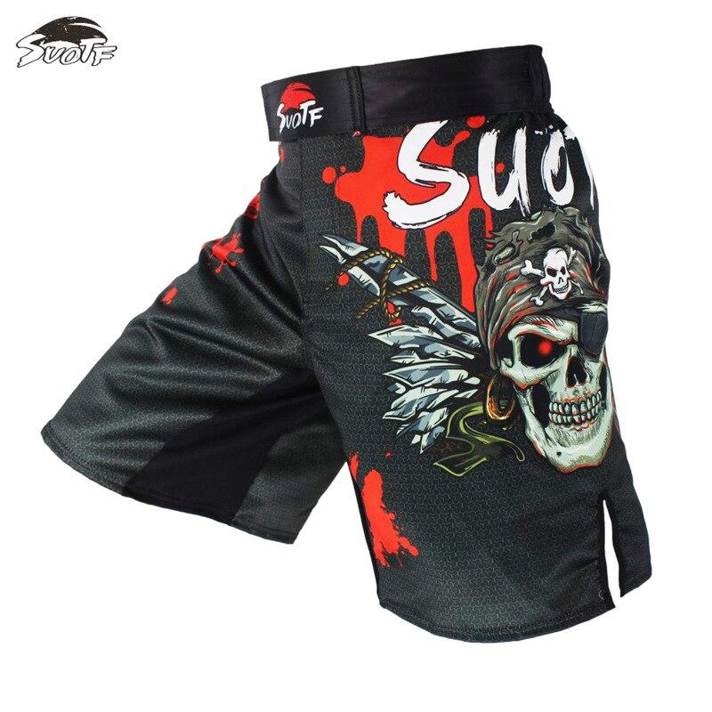 2019 calças de boxe masculinas shorts de impressão calções de combate poliéster kick gel boxe muay thai calças mma shorts crânio impressão