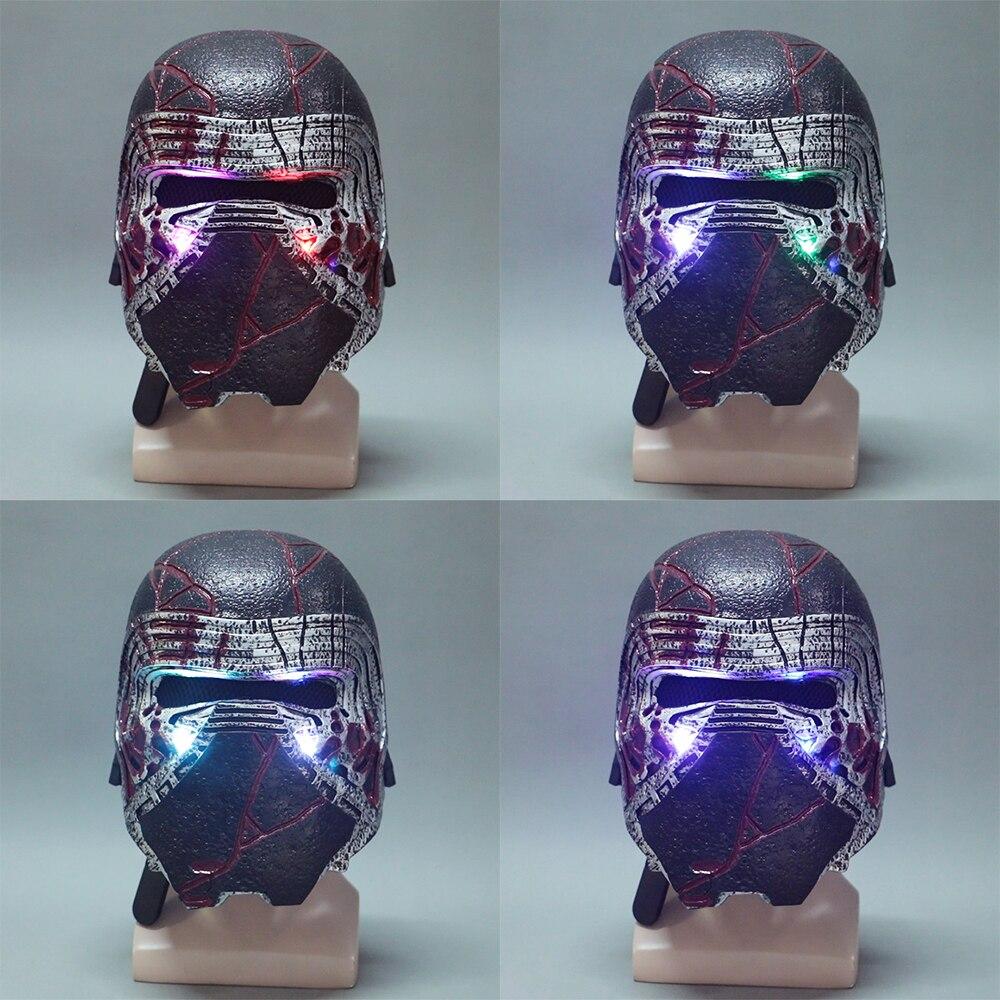 Kylo Ren Helmet Led Light Cosplay Star Wars 9 The Rise of Skywalker Latex Mask Star Wars Helmets Masks Halloween Party Prop