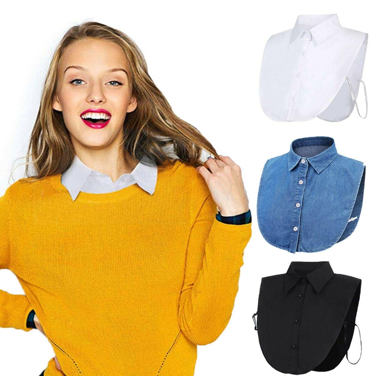 Mujeres señoras falsa solapa media camisa estilo blusa desmontable extraíble cuello Unisex hombres mujeres accesorios cuello decoración Polyes