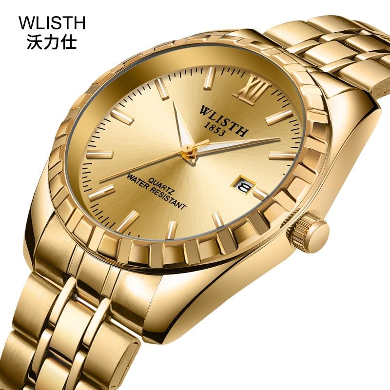 часы водонепрониClocks Couple 's Steel Band Waterproof Student Female Round Fashion Golden Date Quartz Watch Luxury Mens Watches