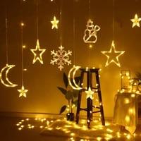 1pc christmas santa snowman snowflake elk moon star suction cup lamp battery powered garland xmas new year ornament led light
