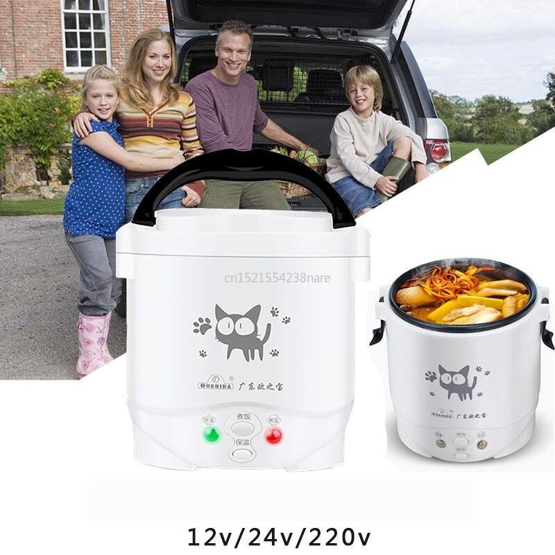 22%,mini revestimento bonde da antiaderente da máquina do arroz do fogão do arroz com a cesta de vapor casa 220 v ou o carro 12 v 24 v suficiente para 2 pessoas