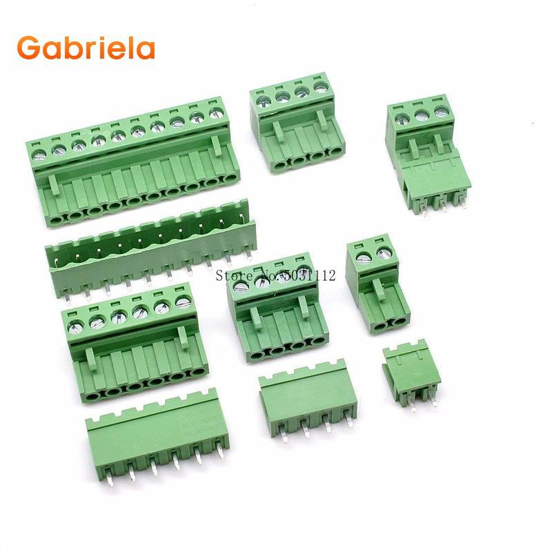 10Sets KF2EDGK 5,08mm HT5.08/2/3/4/5/6/7/8/ 9/10/12P Pin Terminal enchufe recto/curva aguja PCB conector tornillo bloque Terminal