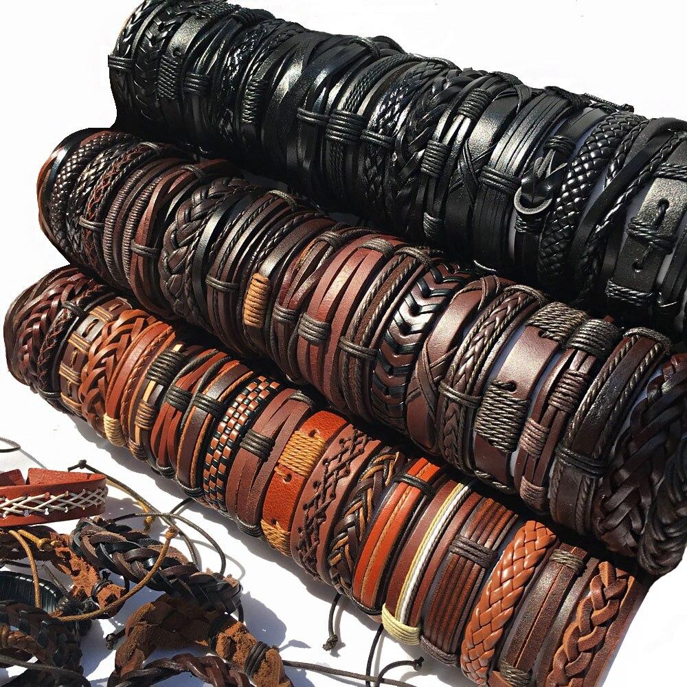 Мужские браслеты, 10 шт./набор, 6 шт., мужские браслеты в стиле бохо, женская бижутерия панк-рок кожа, браслеты, подарки для друзей