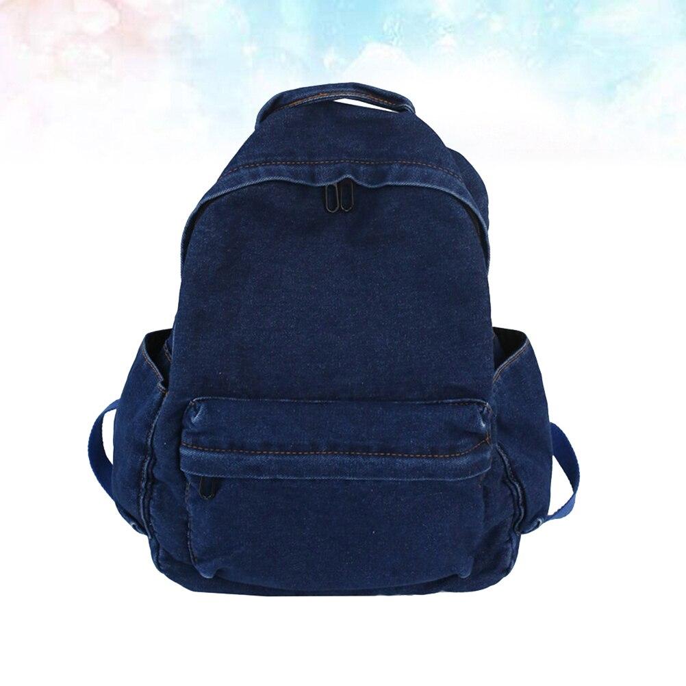 1 шт., повседневный рюкзак из джинсовой ткани, ретро-рюкзак, шикарный рюкзак для студенток, для девочек (темно-синий)