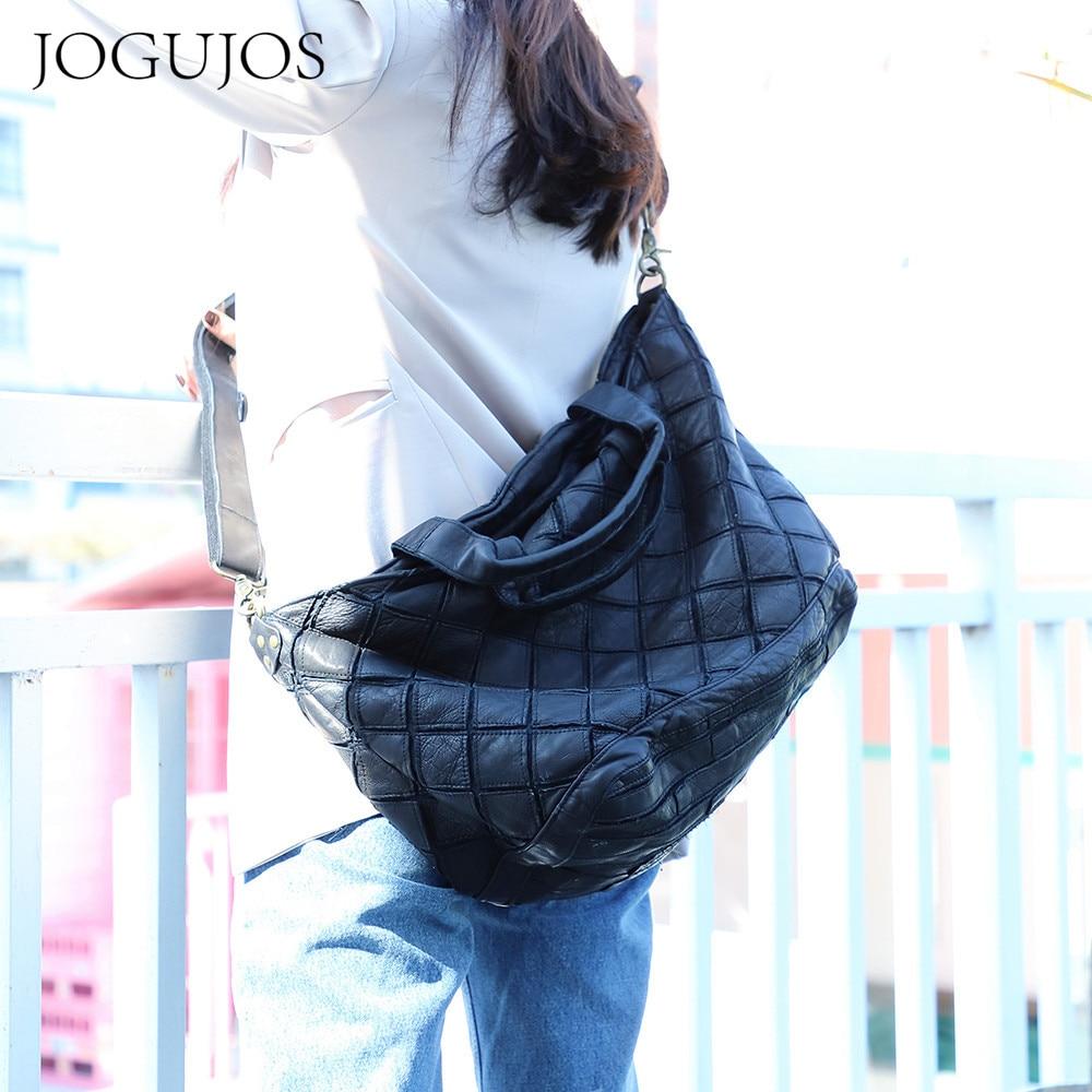 JOGUJOS-حقيبة يد من الجلد الطبيعي الناعم ذات سعة كبيرة للنساء ، حقيبة حمل كبيرة بنمط هندسي عتيق ، 2021