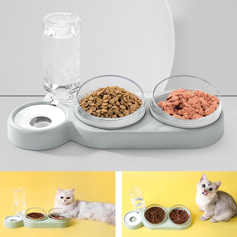 Accesorios para perros gatos doble cuencos de comida de agua contenedor alimentador...