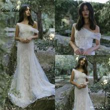 Hippies Boho Lace Wedding Dress One Shoulder Summer Country Wedding Dresses 2020 Elegant Berta Bridal FairyCinderella Wedding