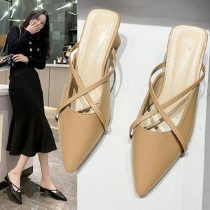 Slippers For Women Pointed Thick Heel Sandals Cross-tied Square Heels Leisure Slides Mules Women's Slippers Summer Lady Shoes