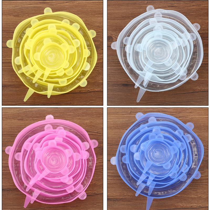 6Pcs Kitchen Universal Accessories Silicone Reusable Food Wrap Bowl Pot Cover Silicone Stretch Lids Cooking Cookware Tools