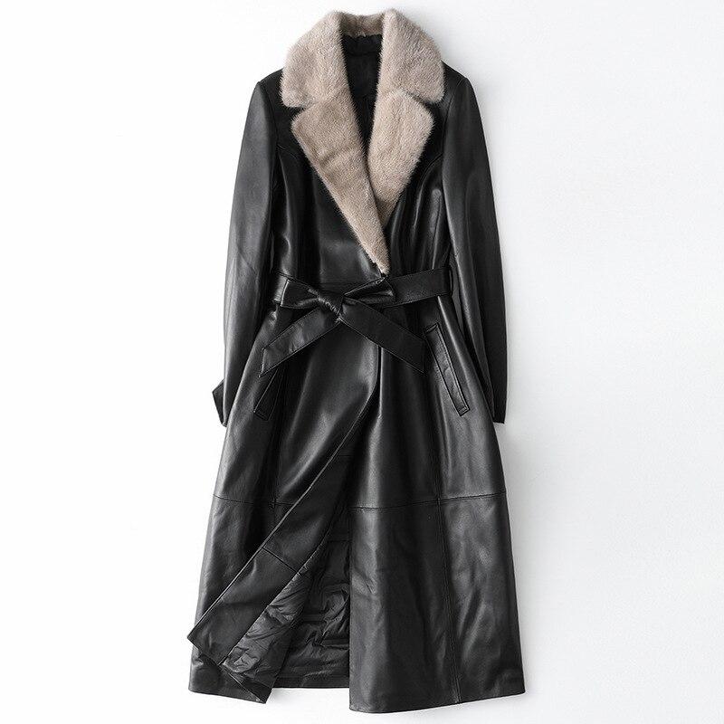 جاكيت من جلد المينك عالي الجودة للنساء لخريف وشتاء 2020 معطف ضيق من جلد الغنم سميك دافئ مقاوم للريح سترة سترة