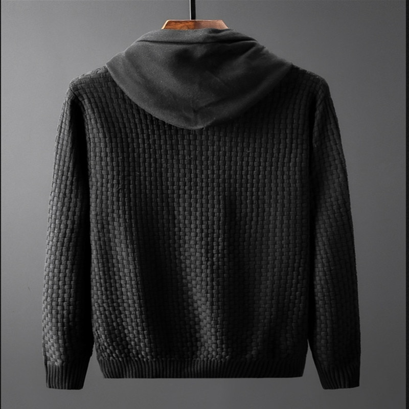 2020 Men Hooded Wool Pullover Autumn Warm Winter Patchwork Long Sleeve Slim Fit Clothes Knitted Casual Male Sweater Pull Homme