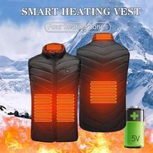 Multifuncional calefacción Chaleco de carga USB caliente chaqueta de invierno cálida temperatura máxima 45 °C acampar al aire libre senderismo golf 발열조끼