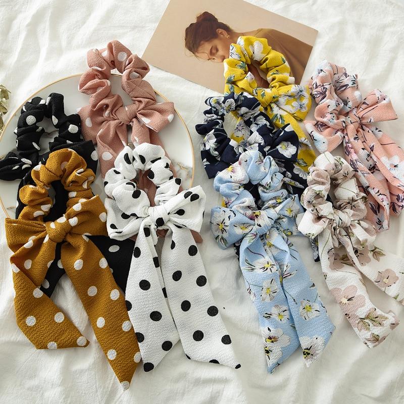 NEW Arrive Flower Elastic Hair Rubber Band Fringe Belt Hair Tiara Girl Hair Scrunchie for Women Hair Gum Accessories