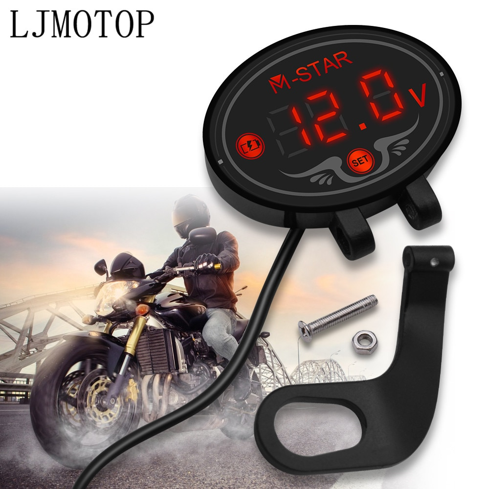 Para Honda PCX 125 150 KAWASAKI Versys 650 KLZ1000 Z400 Panel Digital de la motocicleta voltímetro medidor de voltaje probador pantalla Led
