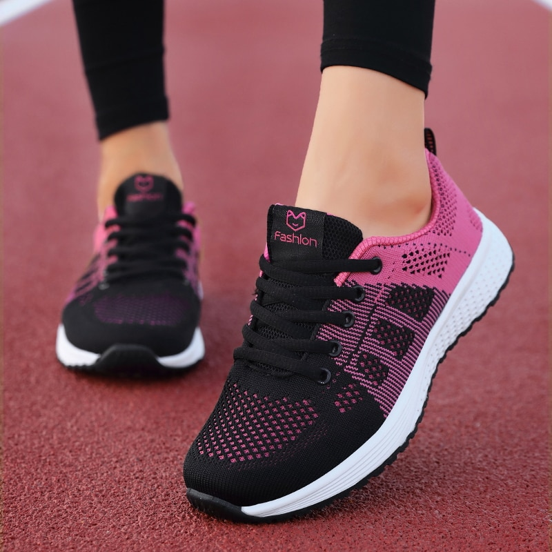 2019 New Women Shoes Flats Fashion Casual Ladies Shoes Woman Lace-Up Mesh Breathable Female Sneakers Zapatillas Mujer forudesigns sketch medical pink print fashion women flats shoes female casual sneakers woman girls comfortable mesh shoes mujer