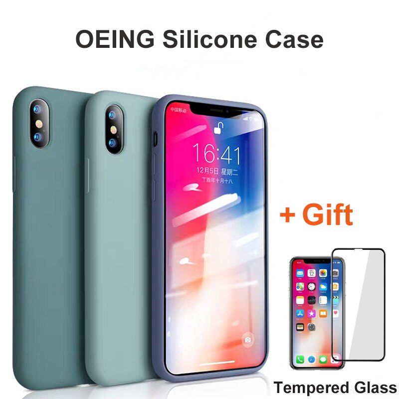 OEING para iPhone 11 caso 2020 11 Pro Max 7 7 6 6s Plus, iPhone funda de silicona para iPhone X XS X Max XR Coque Protector de pantalla