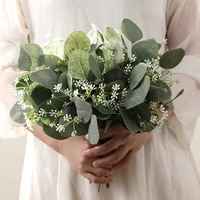 15pc artificial plant eucalyptus leaves branch gypsophila for bridal bouquet diy wreath home party wedding greenery decor