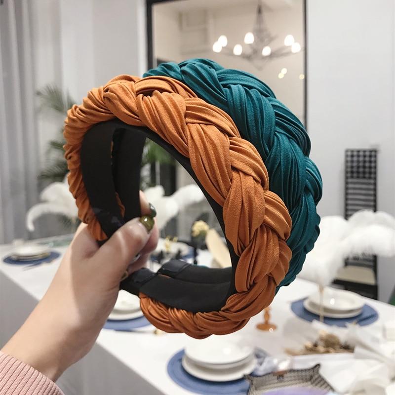 2020 Twist Braid Satin Headband Braided Side Hairbands Wide-Brimmed Hair Hoop weaving Knotted Head H