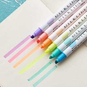 12PCS/Set Cute Highlighter Marker Pens For Writing Kawaii Dual Colors Art Marker Pens School Office Supplies Korean Stationery