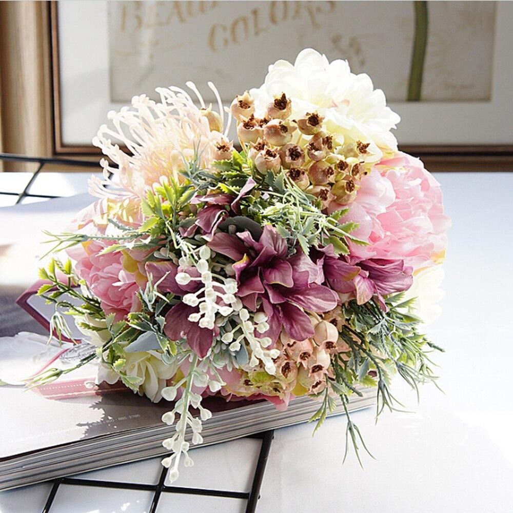 1 Bundle Wedding Combination Bouquet Bride Bridesmaid Holding Flowers Artificial Flowers Household Home Decor Scrapbook