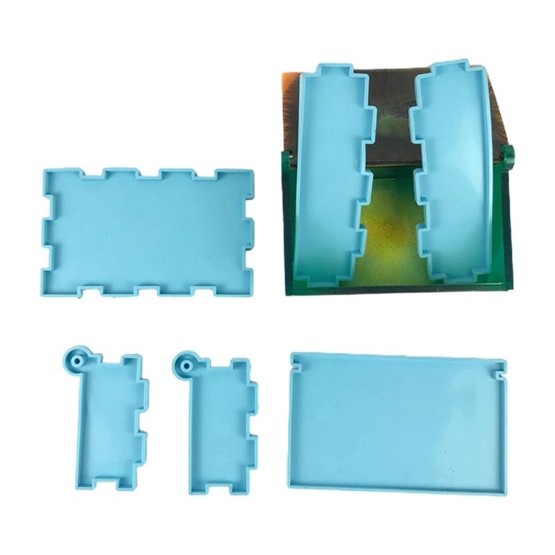 1 Set Domino Storage Box Epoxy Resin Mold Container Silicone Mould DIY Crafts