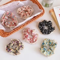 2021 new women foral printed with lace scrunchies girls hair bands ponytail holder hair accessories