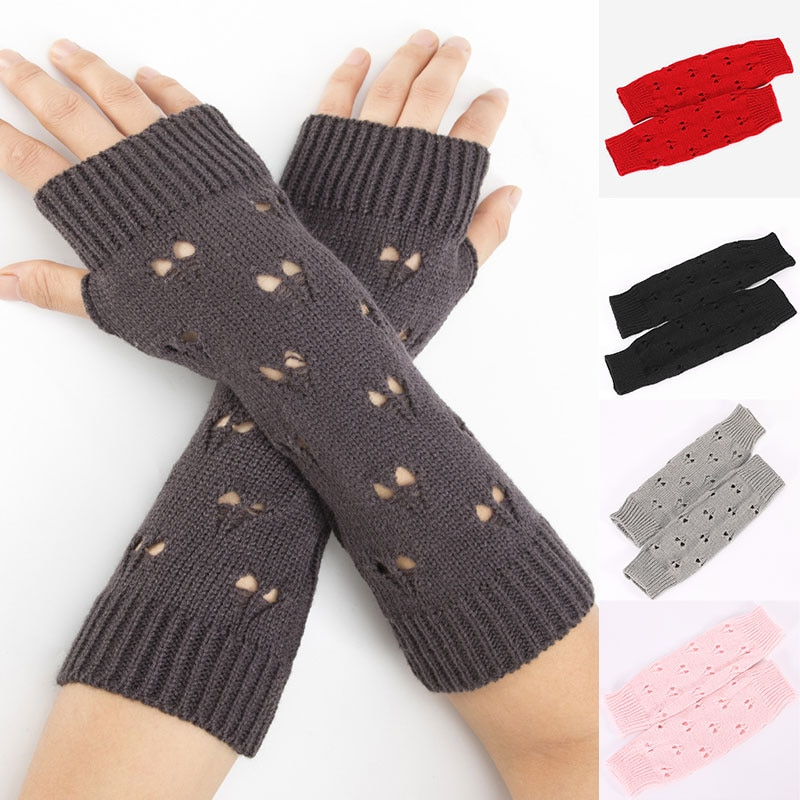 Warm Woolen Arm Covers Unisex Fashionable Love Knitted Ski Fingerless Gloves Solid Color Decorative Pretty Clothing Accessories