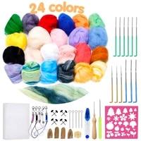 lmdz wool felting kit felting supplies with 24 colors felting wool roving felt needles needle felting pad for felting crafts