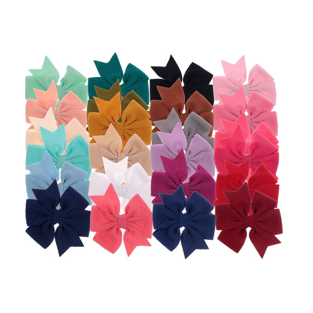 "24 Colors 4"" 20pcs/lot Soft Chiffon Bows for Baby Girls Diy Headband Hair Clips Hairpins Children Headwear Accessories"