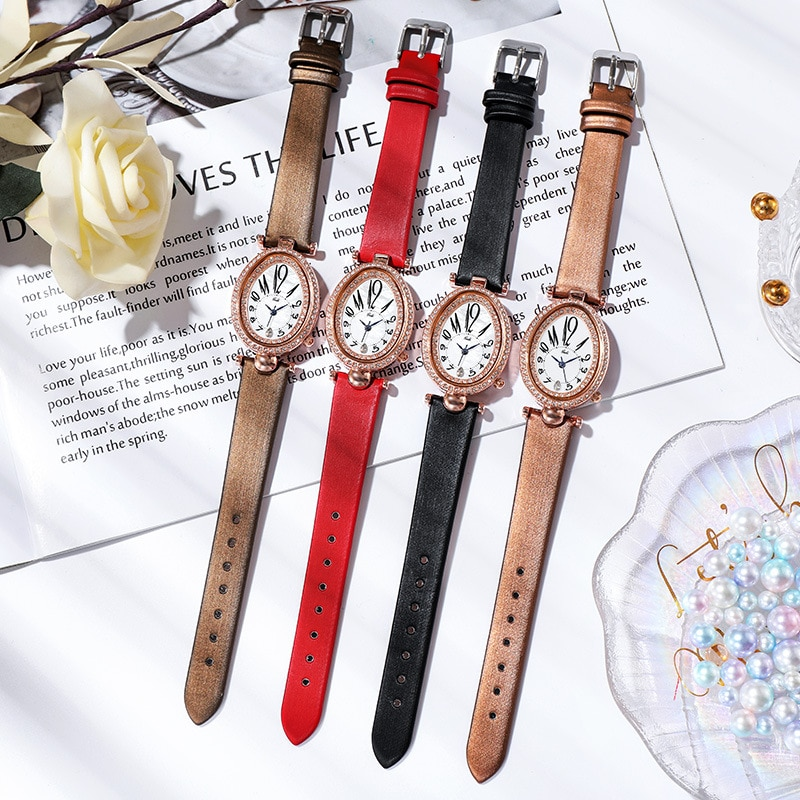 Fashion Rose Gold Dress Watches Women Red Genuine Leather Oval Dial Roman Numeral Stylish Quartz Female Wristwatch Gift Clock enlarge
