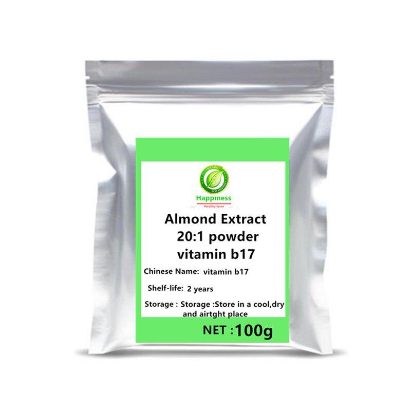 Venda quente amígdalina vitamina b17 suplemento amargo damasco kernel amêndoa extrato em pó feminino/masculino sexo sardas anti-câncer