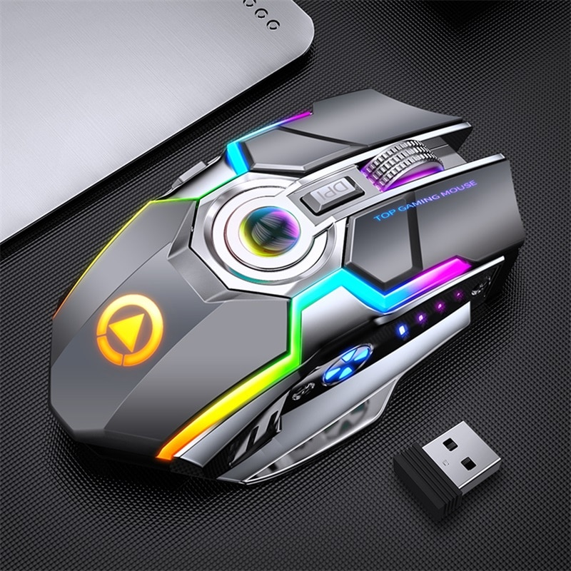 2021 Wireless Mouse Rechargeable 2.4G Silent Gaming Mouse 1600 DPI 7 Buttons LED Backlight USB Optical  Mouse For PC Laptop