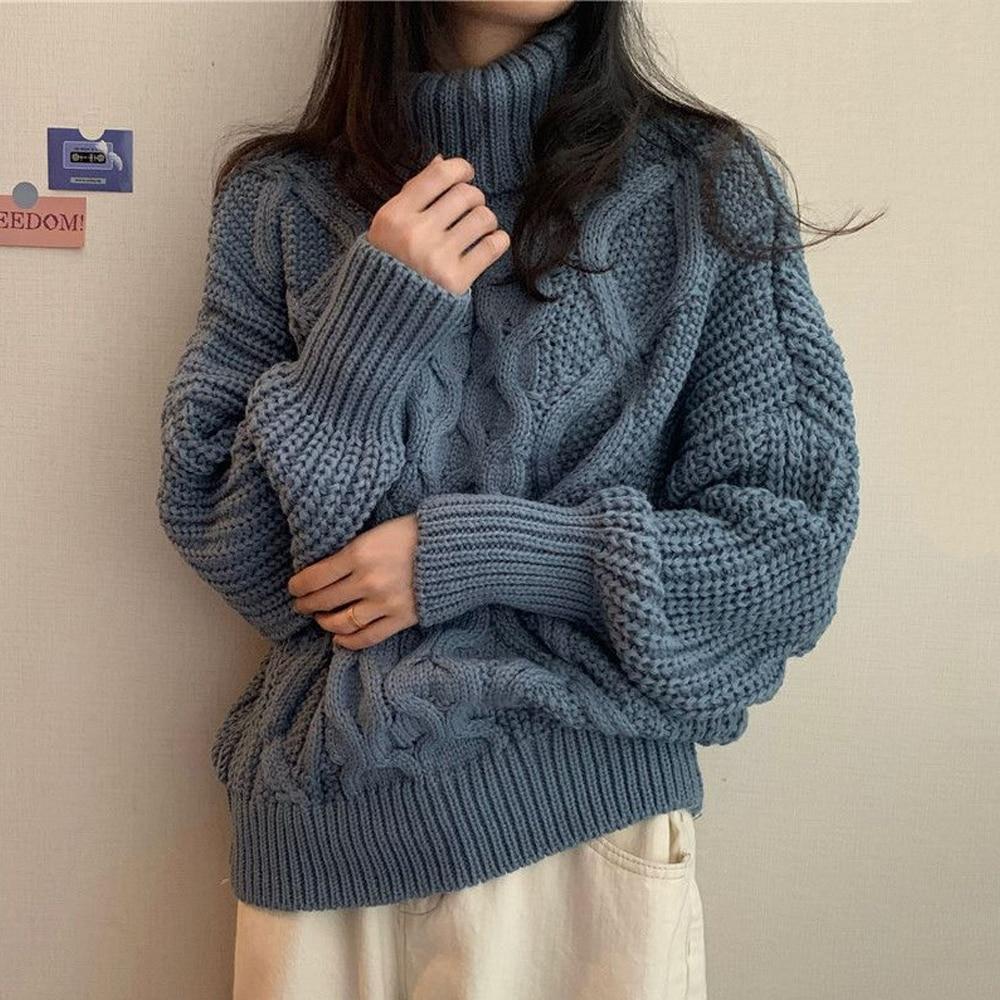 Женская свободная водолазка, однотонный вязаный свитер с цветами из пеньки, Повседневный пуловер, Осень-зима 2021