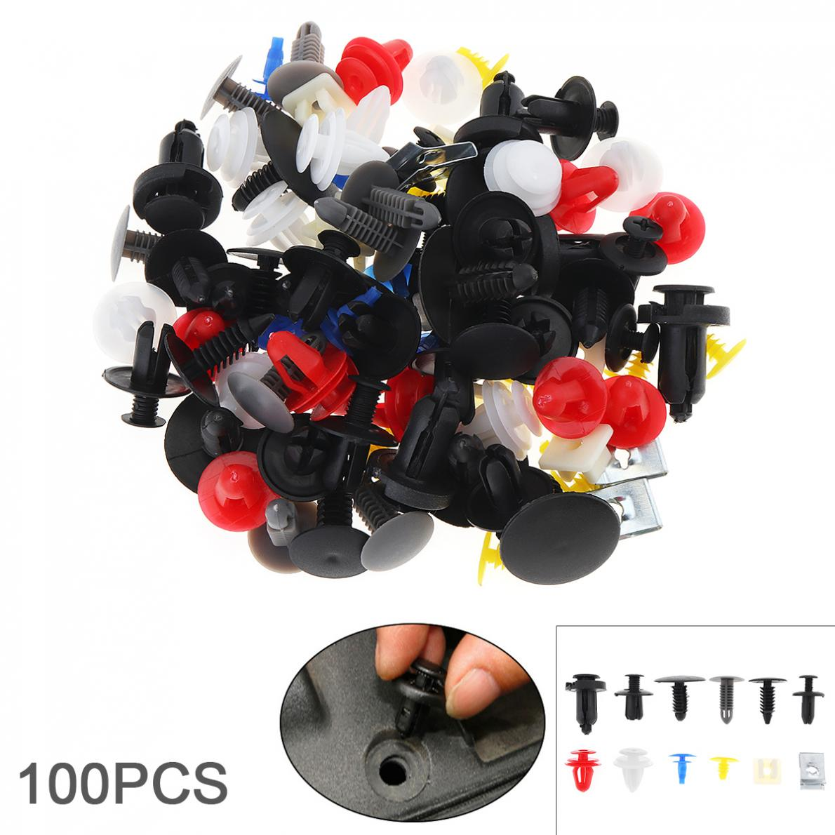 100 unids/set 12 tipos Universal de plástico cuerpo de Metal coche parachoques empuje Pin Clip remaches Kit de tornillos de expansión