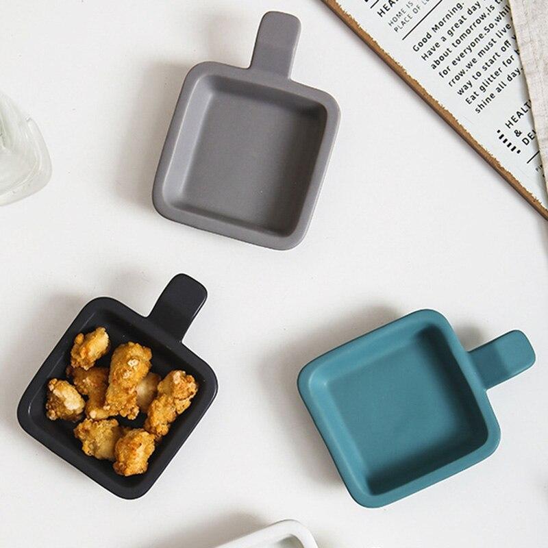 Plato de plato de especias de un solo mango de cerámica, Mini bandeja cuadrada para hornear, plato de postre, plato para desayuno, filete, ensalada, vajilla de cocina