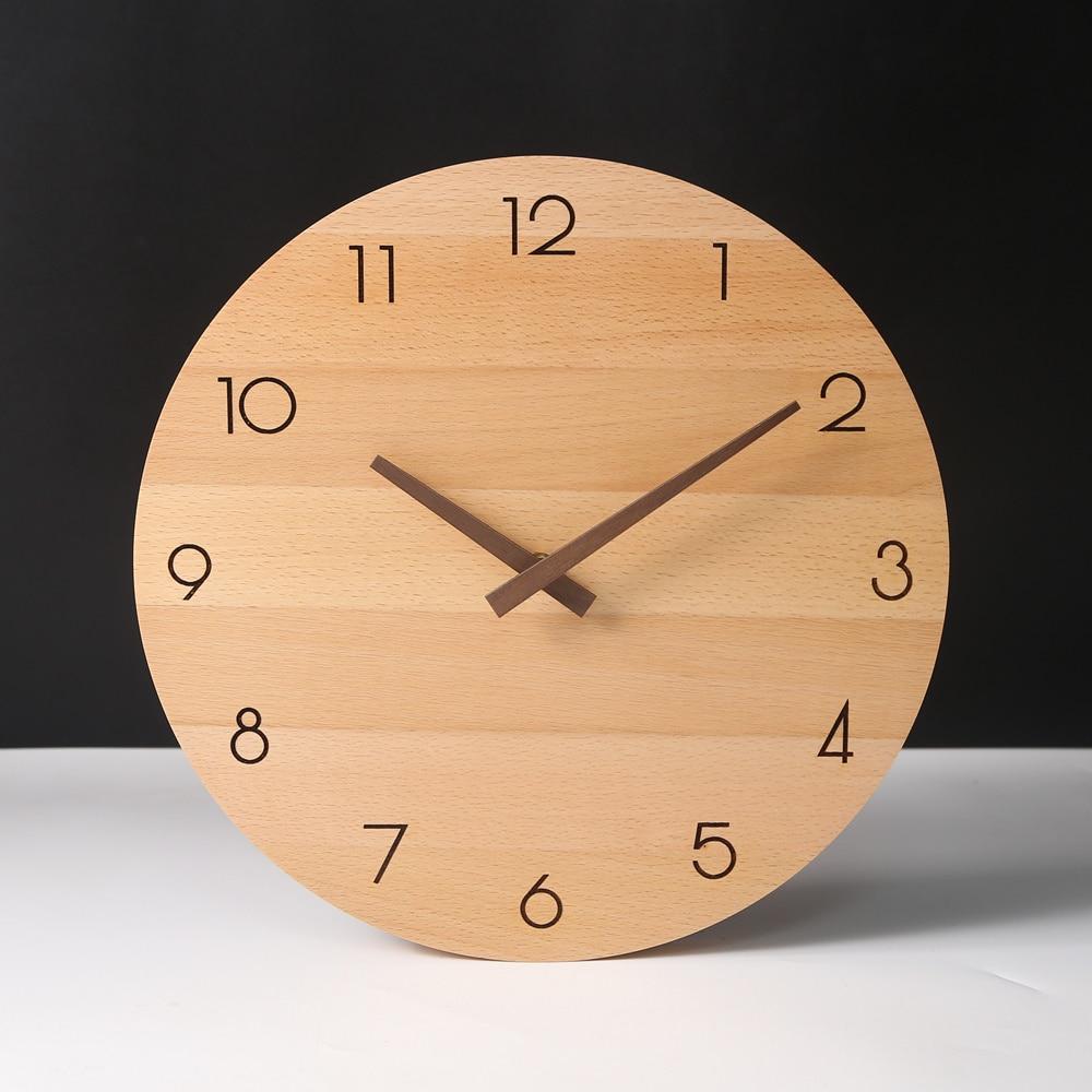 Reloj De Pared De madera nórdico Para sala De estar, moderno y...