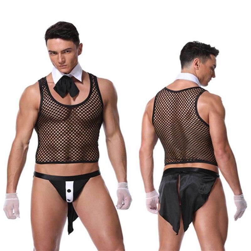 Traje de baño de malla para sirviente masculino, ropa interior Sexy para hombre, chaleco de esmoquin, ropa interior erótica para club nocturno, camarero de bar