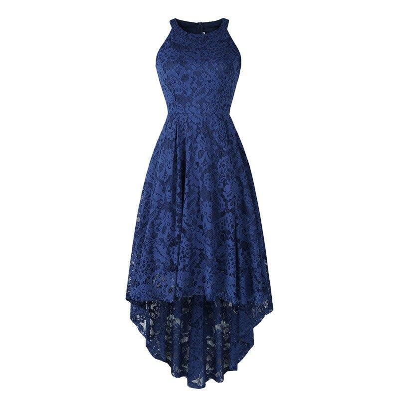 Vestidos de Baile Formal em Estoque Azul Marinho Rendas Alta Baixa Halter Pescoço Cocktail Vestido Formatura Ysan661
