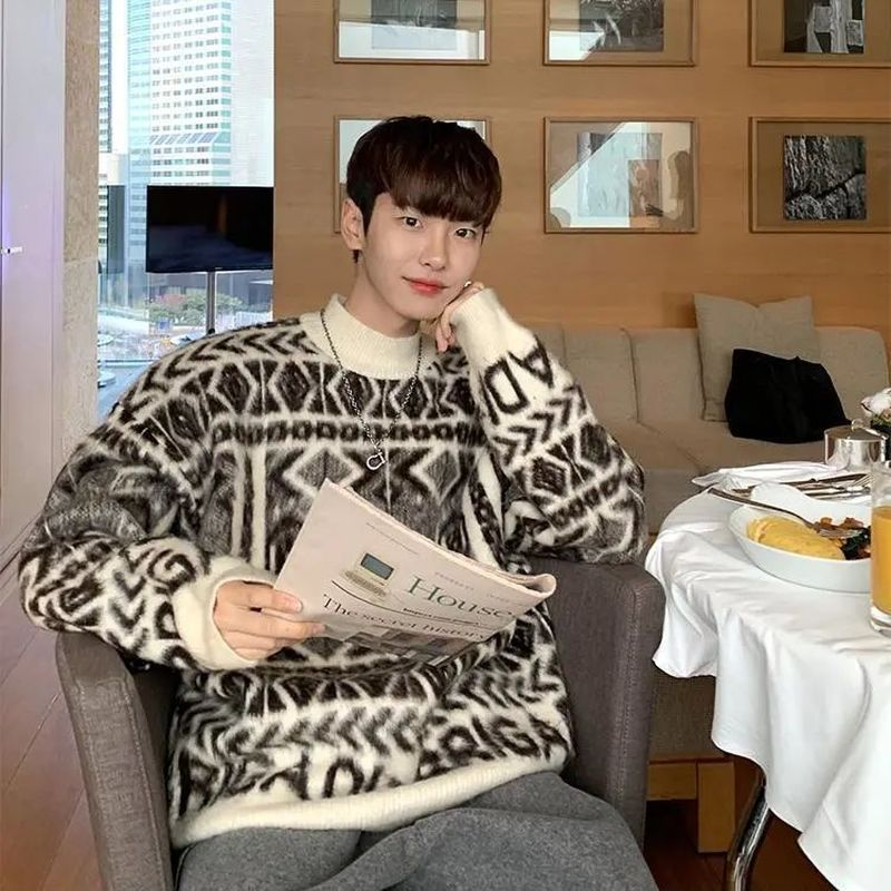 E-BAIHUI Sweater Men Jumpers Knitted Harajuku Hip Hop Streetwear Knitwear Clothing Pullover Oversize Sweaters Q121707