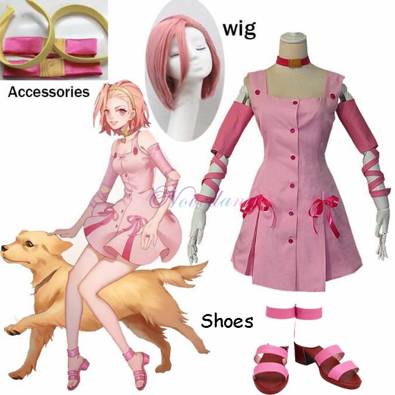 JoJo Bizarre Adventure Anime Reimi Sugimoto-بدلة تنكرية ، فستان وردي ، حذاء شعر لحفلات الهالوين ، كرنفال ، ملابس متقاطعة