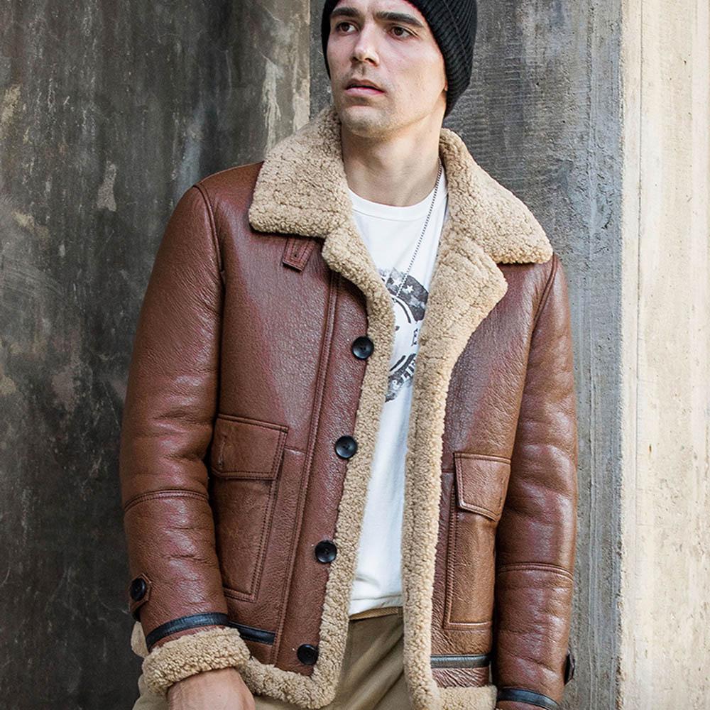 تعزيز البني رشاقته الحقيقي فراء من صوف الأغنام معطف الرجال الشتاء ضئيلة لينة Comfotable الطبيعي جلد الغنم الحقيقي الملابس
