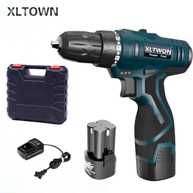 Xltown 16.8 فولت اللاسلكي متعدد الوظائف اثنين من سرعة مفك كهربائي مع 2 بطارية ليثيوم قابلة للشحن مثقاب صغير هدية بت