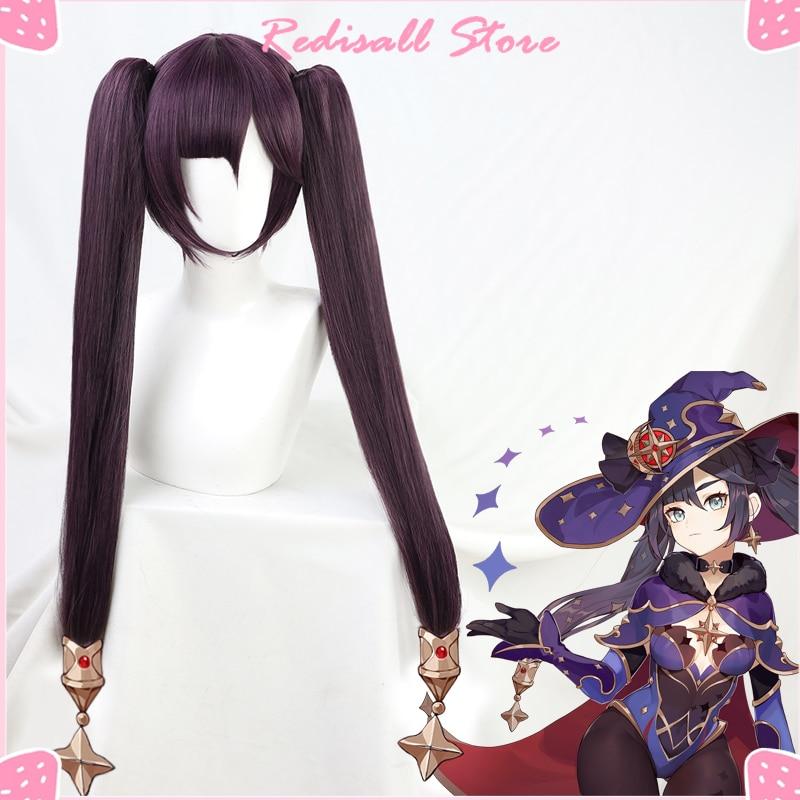 Genshin Impact Mona Cosplay Dark Purple Wig Pigtails Synthetic Long Straight Heat Resistant Hallowee