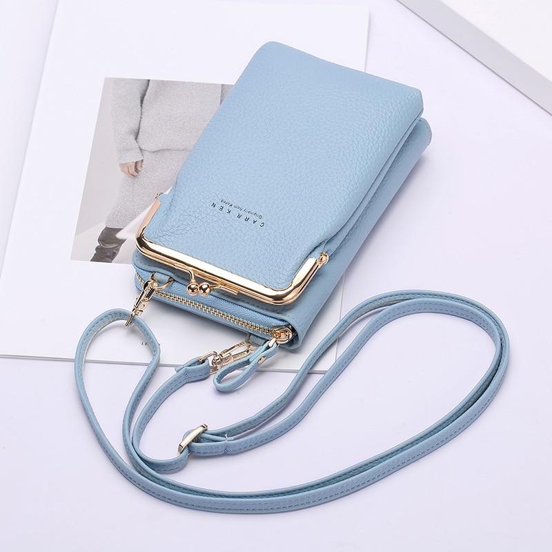 Ladies New Wallet Lychee Pattern Fashion Multifunctional Wallet Pure Color Zipper Long Hand Diagonal Shoulder Bag