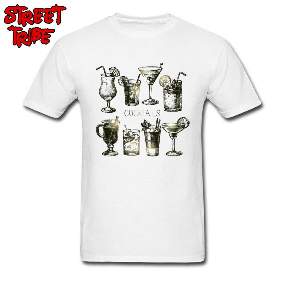 Camiseta Vintage para hombre, camiseta blanca con estampado de cóctel, camiseta de fiesta con bebida alcohol, ropa de Fitness personalizada, algodón