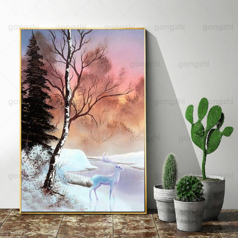 Abstract Cartoon Winter Landscape Woods Snow Elk Flying Bird Home Wall Painting Frameless Hd Canvas Printing Decoration Poster  - buy with discount