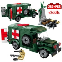 Steel Empire Military Ambulance FT17 Tank Building Blocks WW2 Car Soldier Figures Bricks Toys For Children Boys