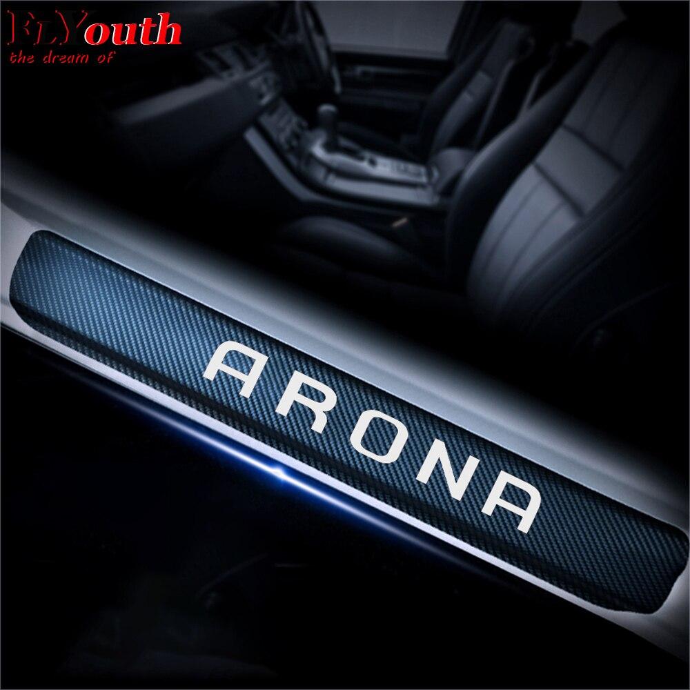 Pegatina de vinilo de fibra de carbono para SEAT ARONA, umbral de...